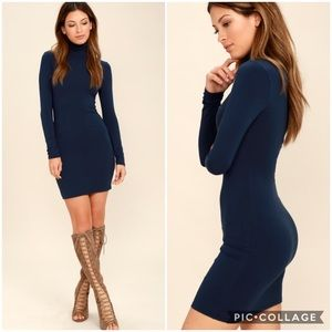 Lulu's High Hopes Navy Blue Bodycon Dress